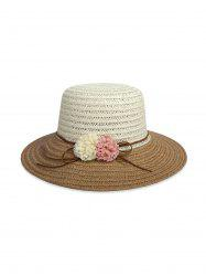 Beach Flowers Colorblock Straw Hat -