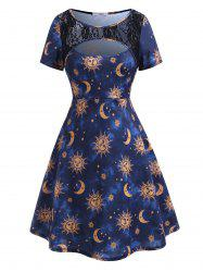 Plus Size Sun Moon Print Cutout Dress -