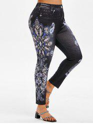 Plus Size Paisley Flower 3D Print High Waisted Jeggings -