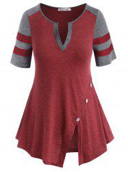 V-notched Buttoned Colorblock Stripes Panel Plus Size Top -