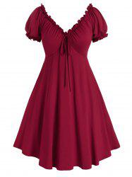 Plus Size Puff Sleeve A Line Dress -
