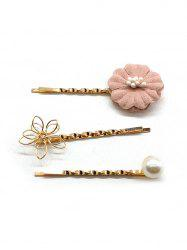 3Pcs Floral Artificial Pearl Hairpin Set -