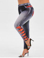Plus Size 3D Lace Ripped Jean Print Skinny Jeggings -