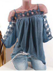 Plus Size Lace Crochet Cold Shoulder Blouse -