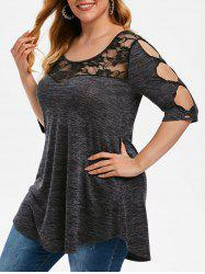 Plus Size Floral Lace Hollow Sleeve Top -