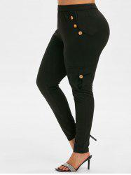 Plus Size Mock Button Side Pockets Skinny Leggings -
