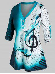 Plus Size Musical Notes Ombre Roll Tab Sleeve Tunic Top -