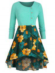 Mock Buttons High Low Floral Plus Size Top -