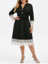 Plus Size Lace Insert Belted Midi Dress -