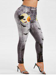 Plus Size Halloween Pumpkin Bat Print Jeggings -