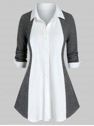 Plus Size Bicolor Knit Roll Tab Sleeve Curved Hem Blouse -