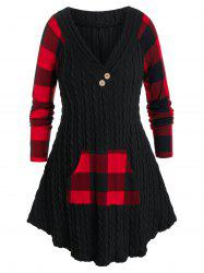 Plus Size Cable Knit Plaid Kangaroo Pocket Curved Sweater -