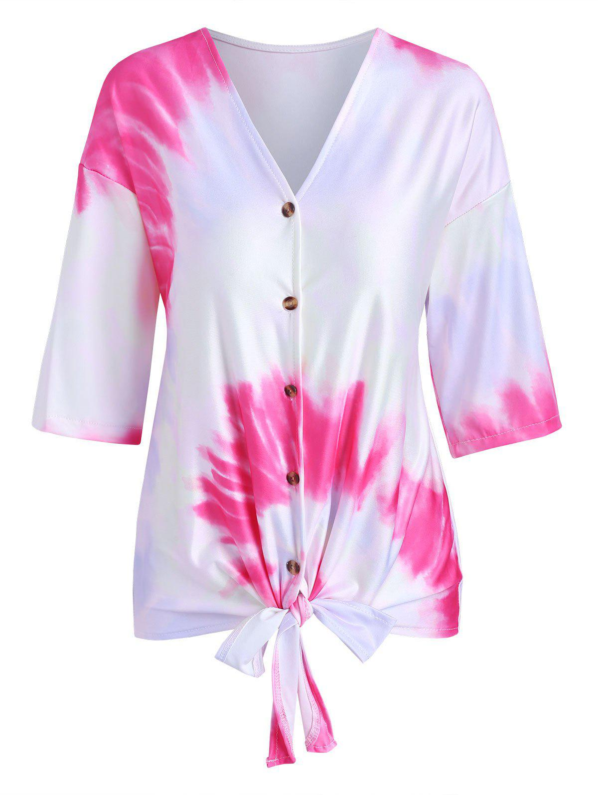 Best Tie Dye Print Knotted Button Up T-shirt