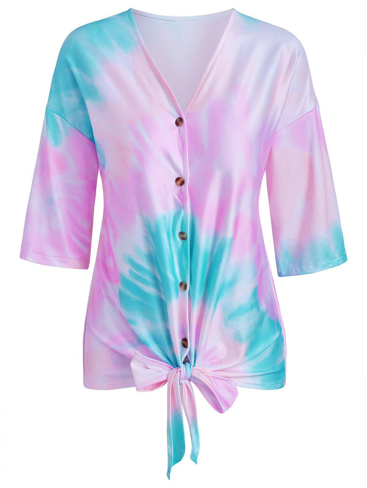 Latest Tie Dye Print Knotted Button Up T-shirt