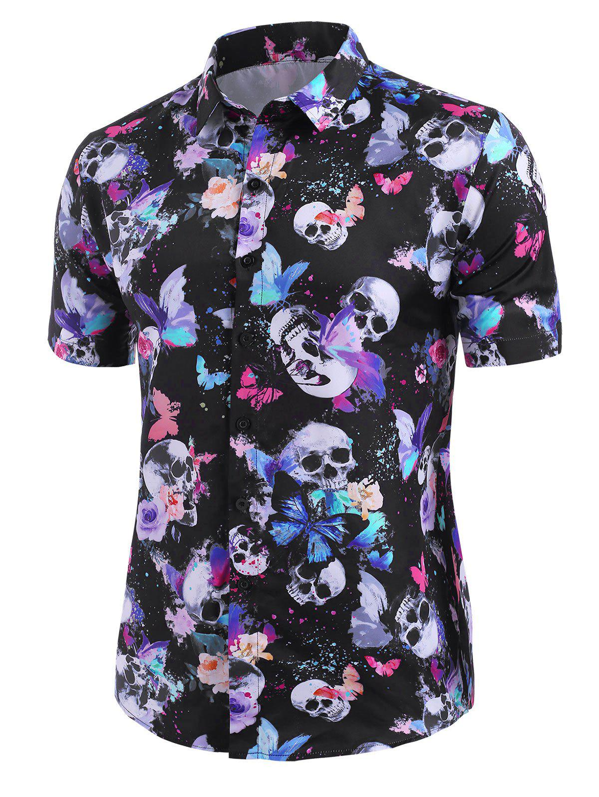 Unique Skull Butterfly Print Short Sleeve Button Up Shirt