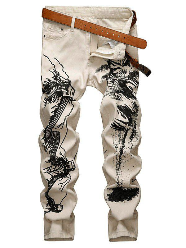 Shop Animal Graphic Zipper Fly Denim Pencil Pants