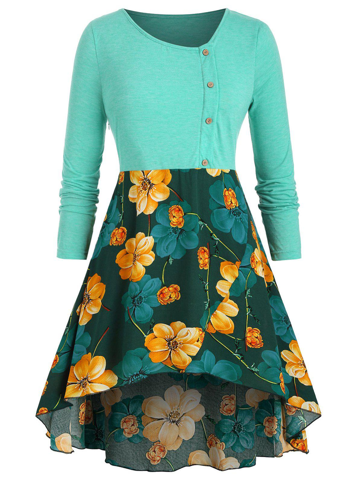 Buy Mock Buttons High Low Floral Plus Size Top