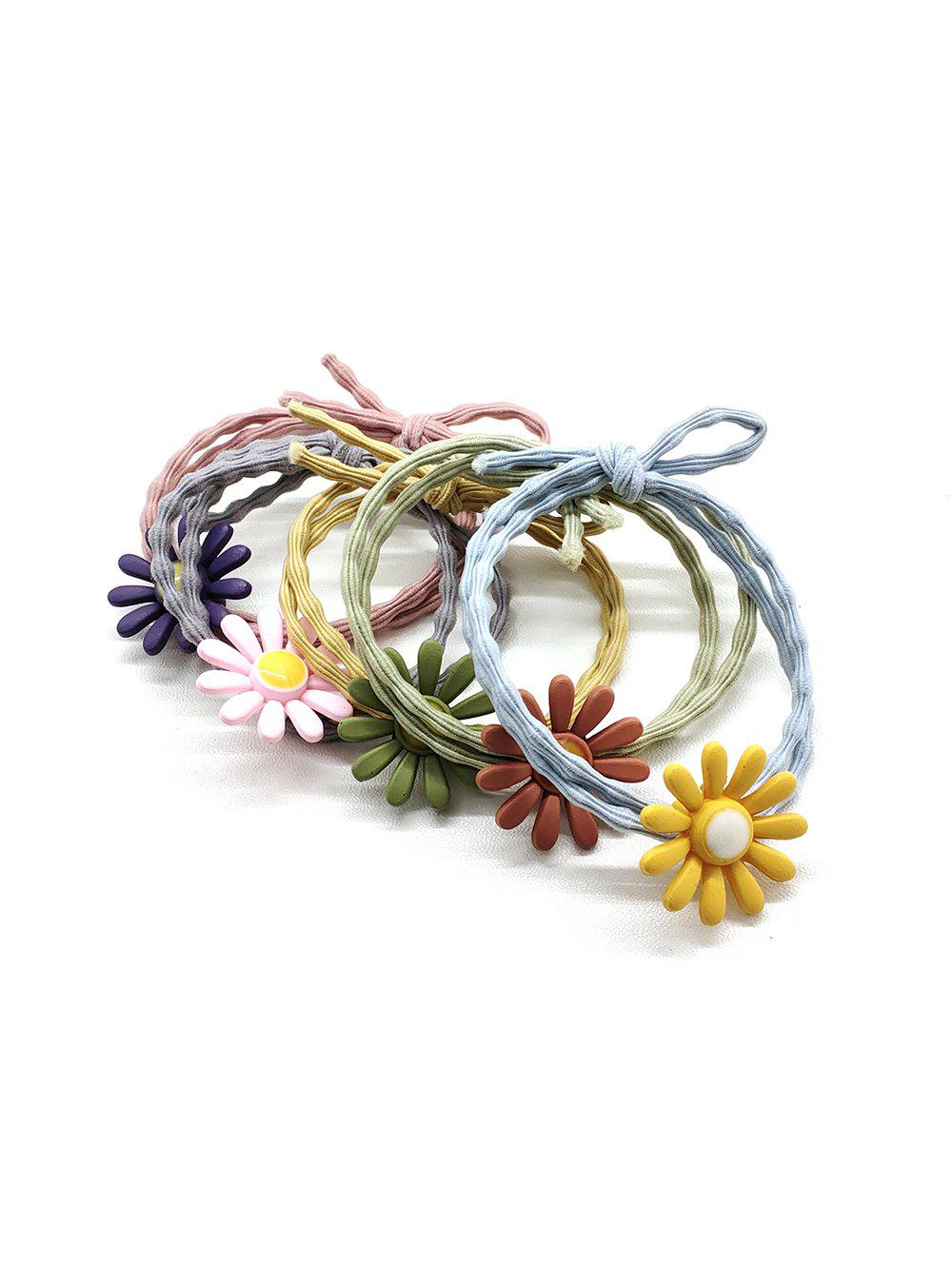 Fashion 5Pcs Daisy Double Layers Elastic Hair Tie Set