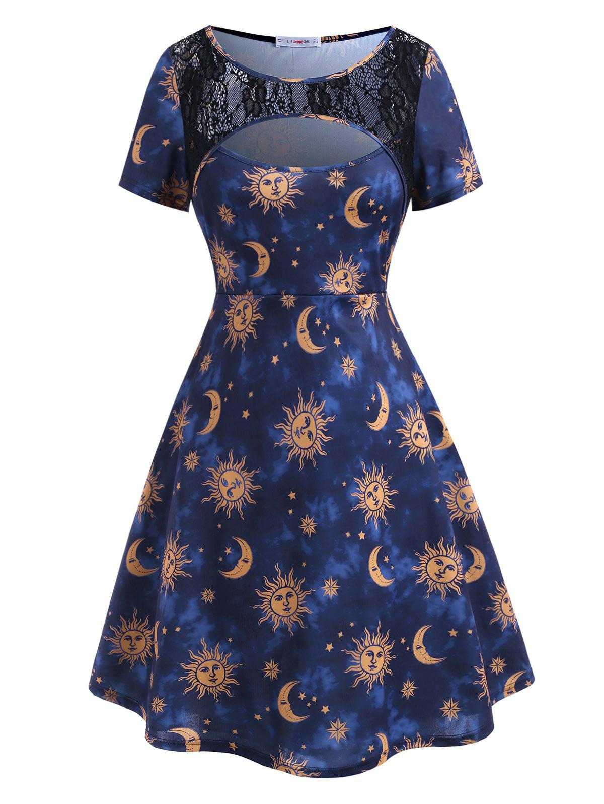 New Plus Size Sun Moon Print Cutout Dress