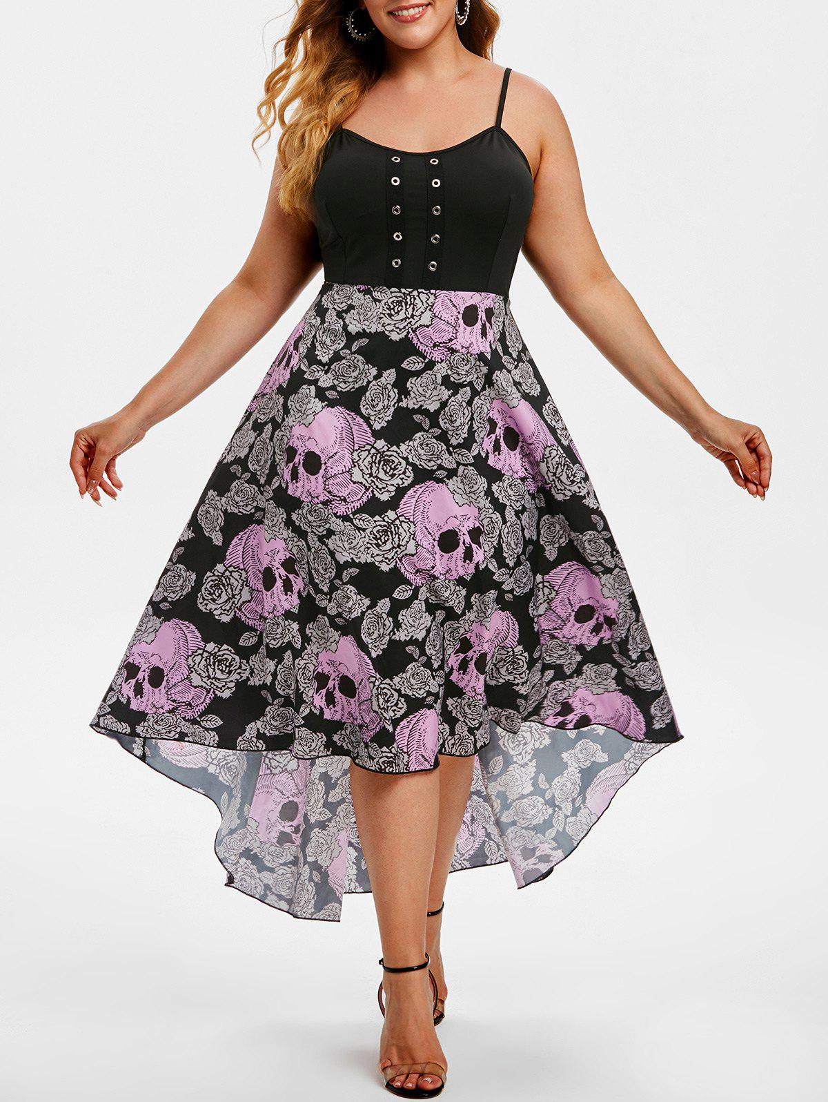Store Grommet High Low Floral Skull Halloween Plus Size Dress