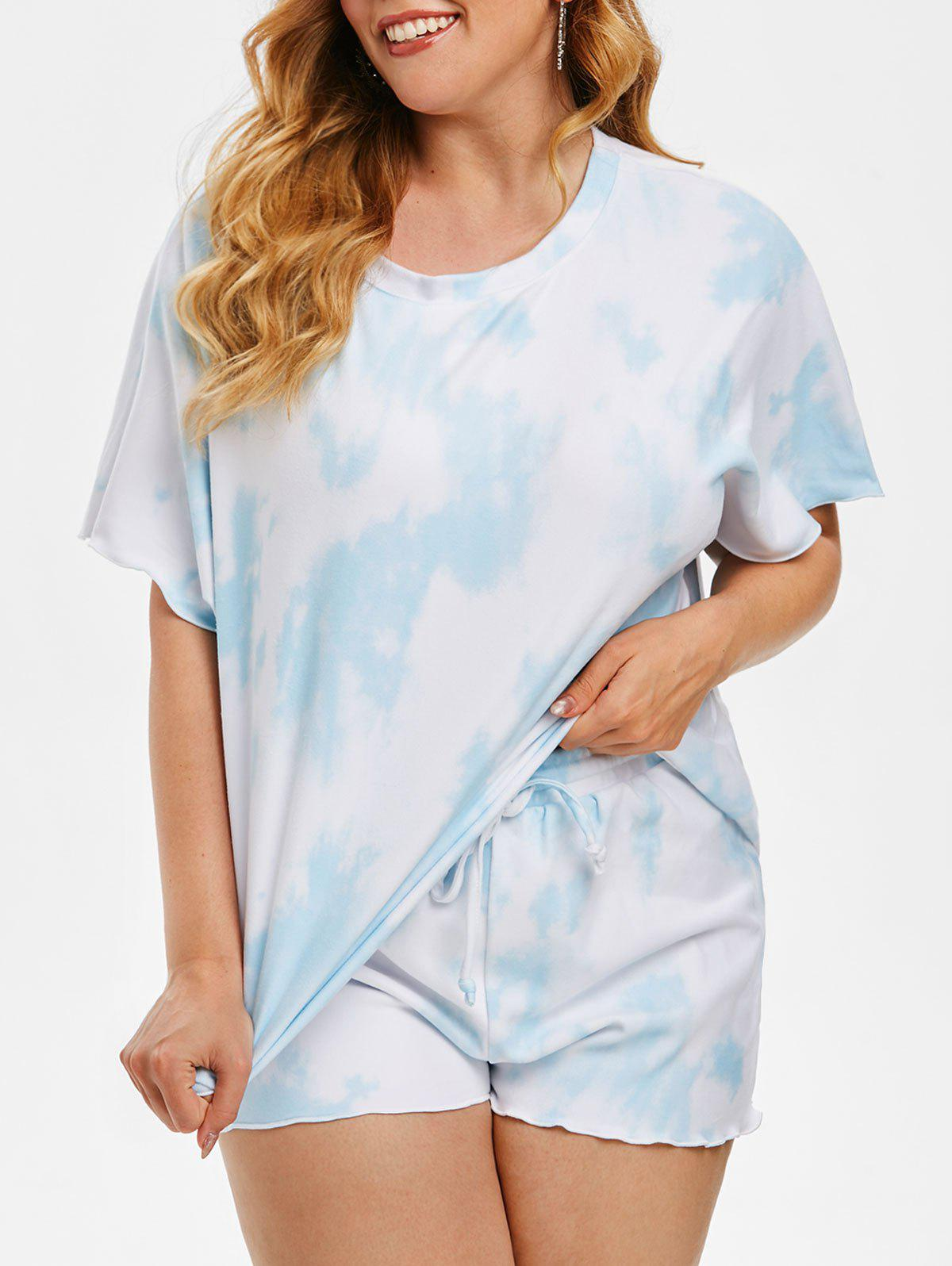 Chic Plus Size Fleece Tie Dye Loungewear