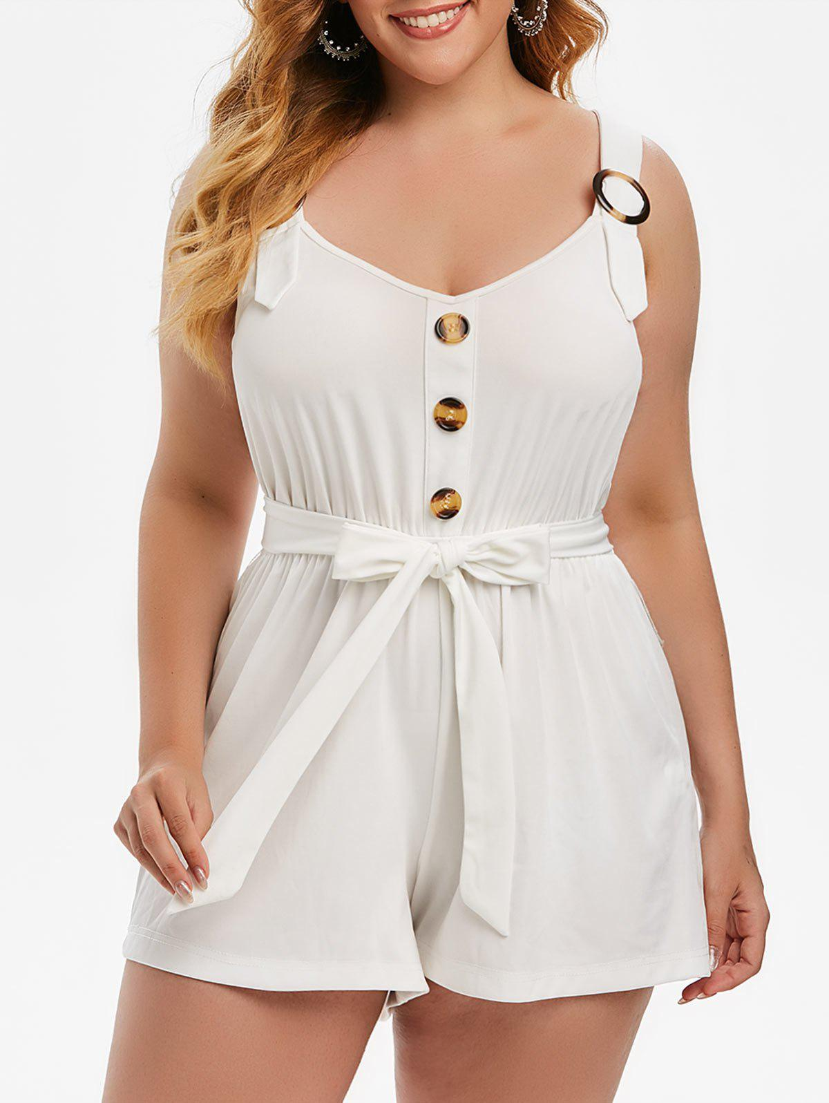Buy Plus Size Belted Sweetheart Neck Buttoned Romper