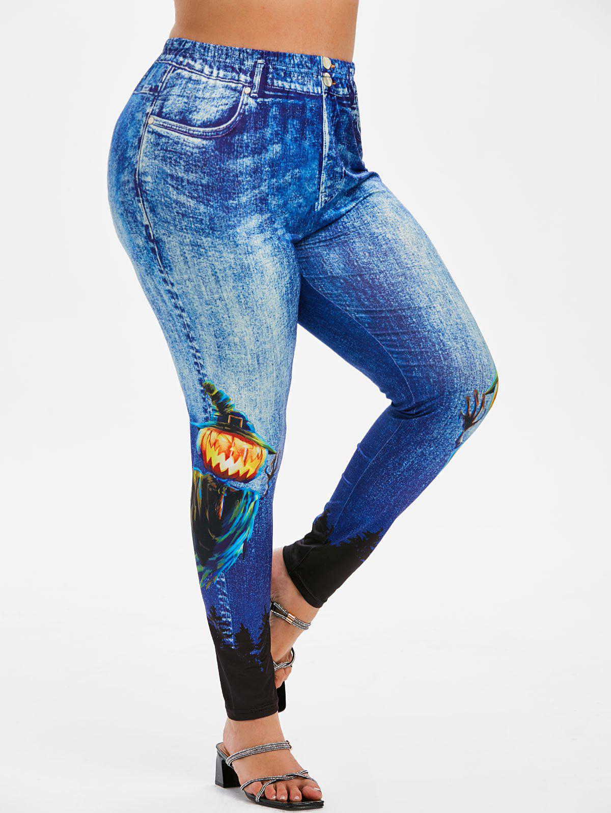 Trendy Plus Size Halloween 3D Denim Pumpkin Ghost Print Jeggings