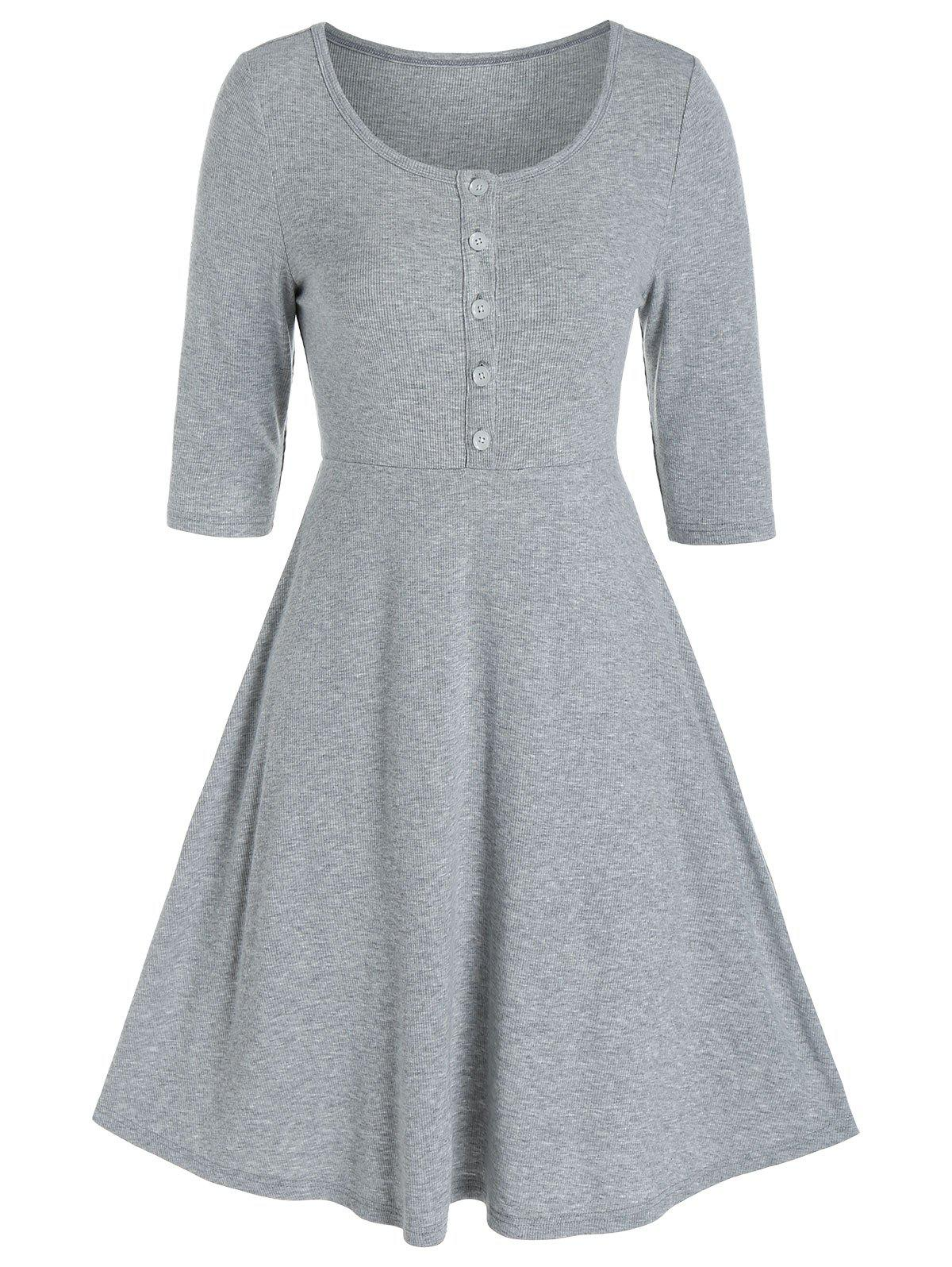 Affordable Plain Henley Knitted Mini A Line Dress