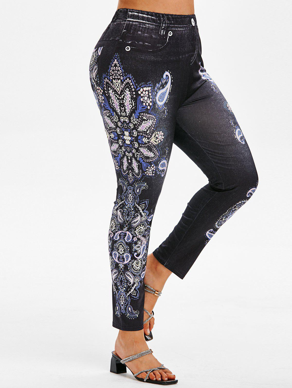 Store Plus Size Paisley Flower 3D Print High Waisted Jeggings
