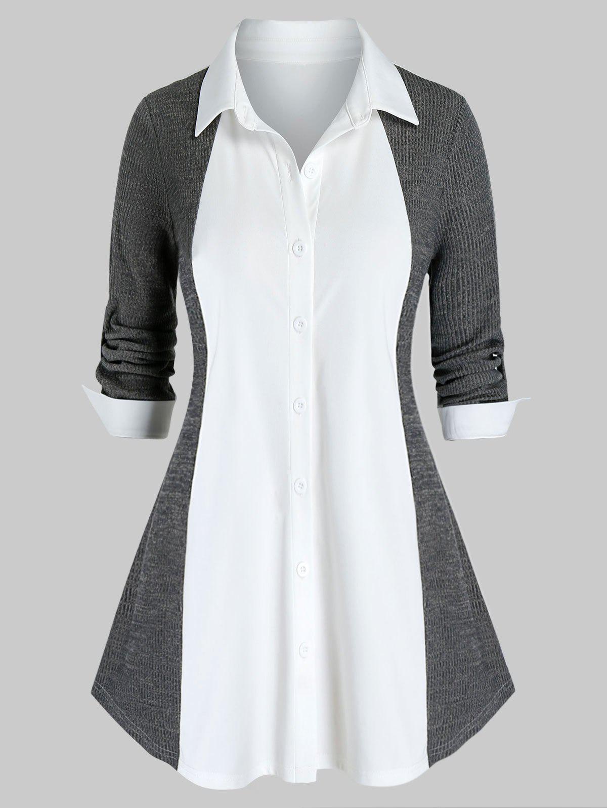 Shops Plus Size Bicolor Knit Roll Tab Sleeve Curved Hem Blouse