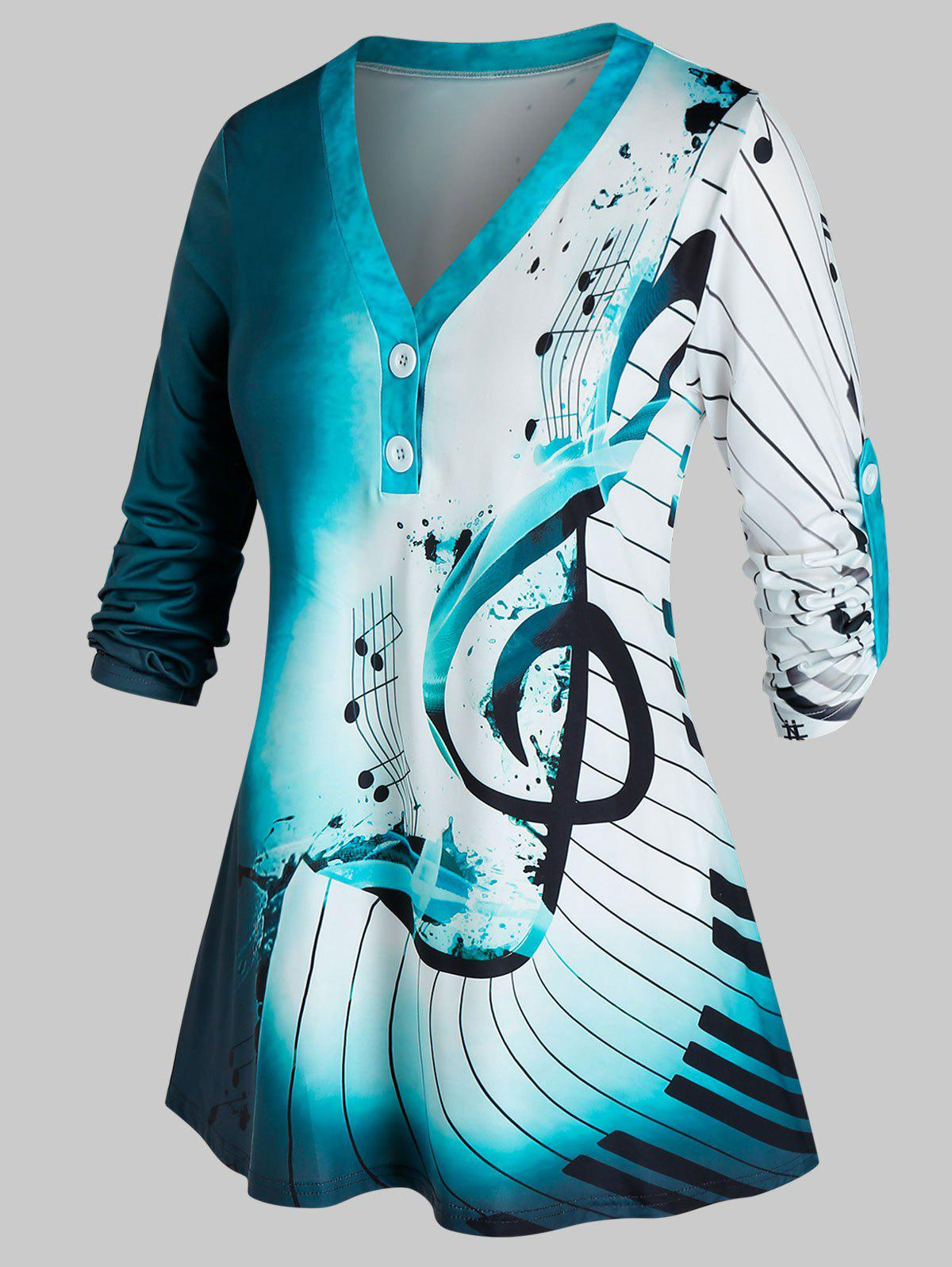 Outfit Plus Size Musical Notes Ombre Roll Tab Sleeve Tunic Top