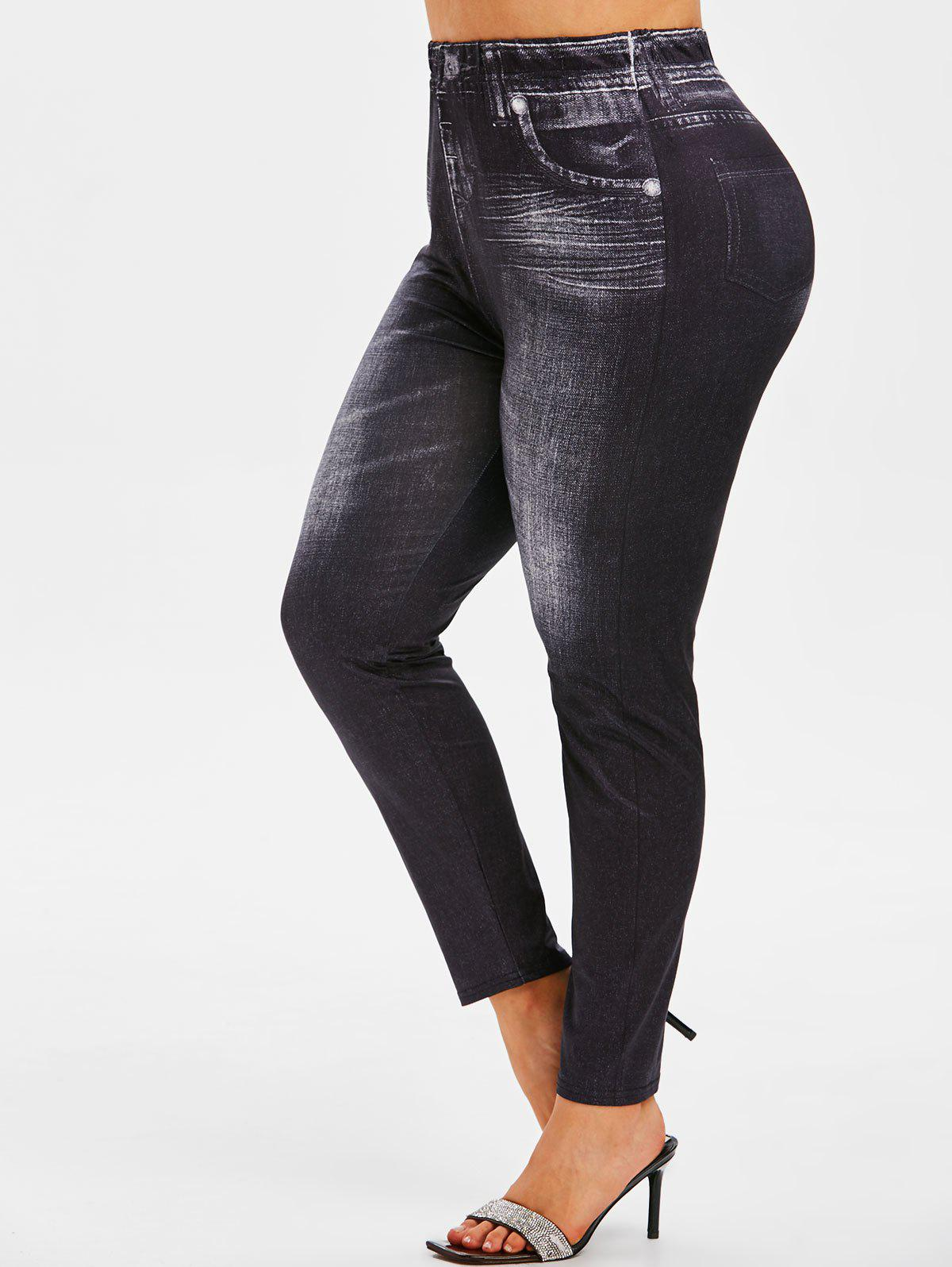 Cheap Plus Size High Waisted 3D Jean Print Jeggings