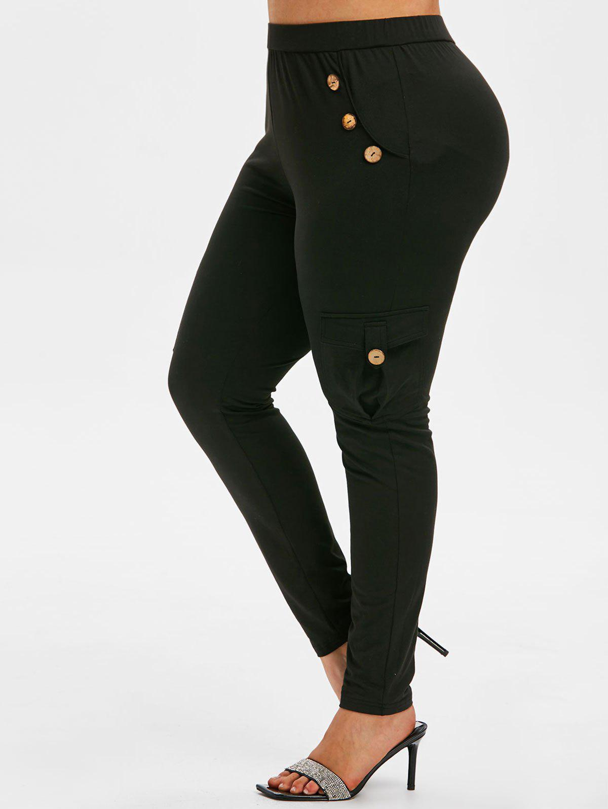 Cheap Plus Size Mock Button Side Pockets Skinny Leggings