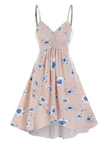 Floral Print Ruched Cami A Line Dress - PINK - 2XL