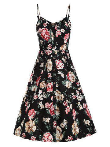 Floral Smocked Back Mock Buttons Cami Dress - BLACK - L
