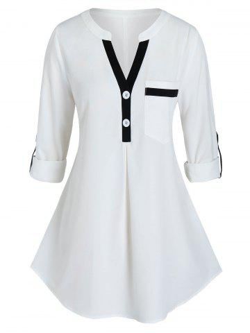 Plus Size Contrast Trim Roll Up Sleeve Blouse - WHITE - 1X
