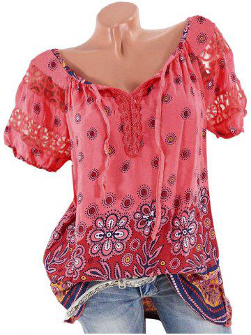 Plus Size Lace Insert Floral Print Blouse - RED - XL