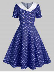 Shawl Collar Polka Dot Double Breasted 1950s Dress -