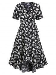 Floral Flounce Hi Lo Maxi Wrap Dress -