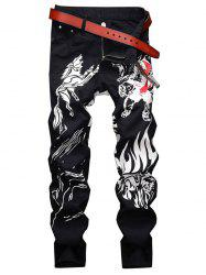 Animal Graphic Casual Denim Pants -