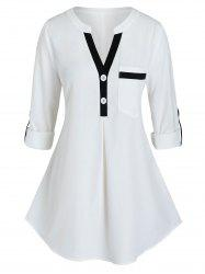 Plus Size Contrast Trim Roll Up Sleeve Blouse -