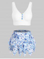 Printed Tiered Skirted Tankini Swimwear -