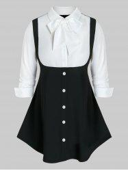 Plus Size Two Tone Bow Tie Collar Curved Hem Tunic Blouse -