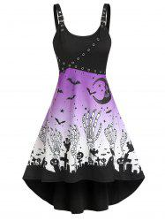 Halloween Pumpkin Skeleton Print Grommet Cami High Low Dress -