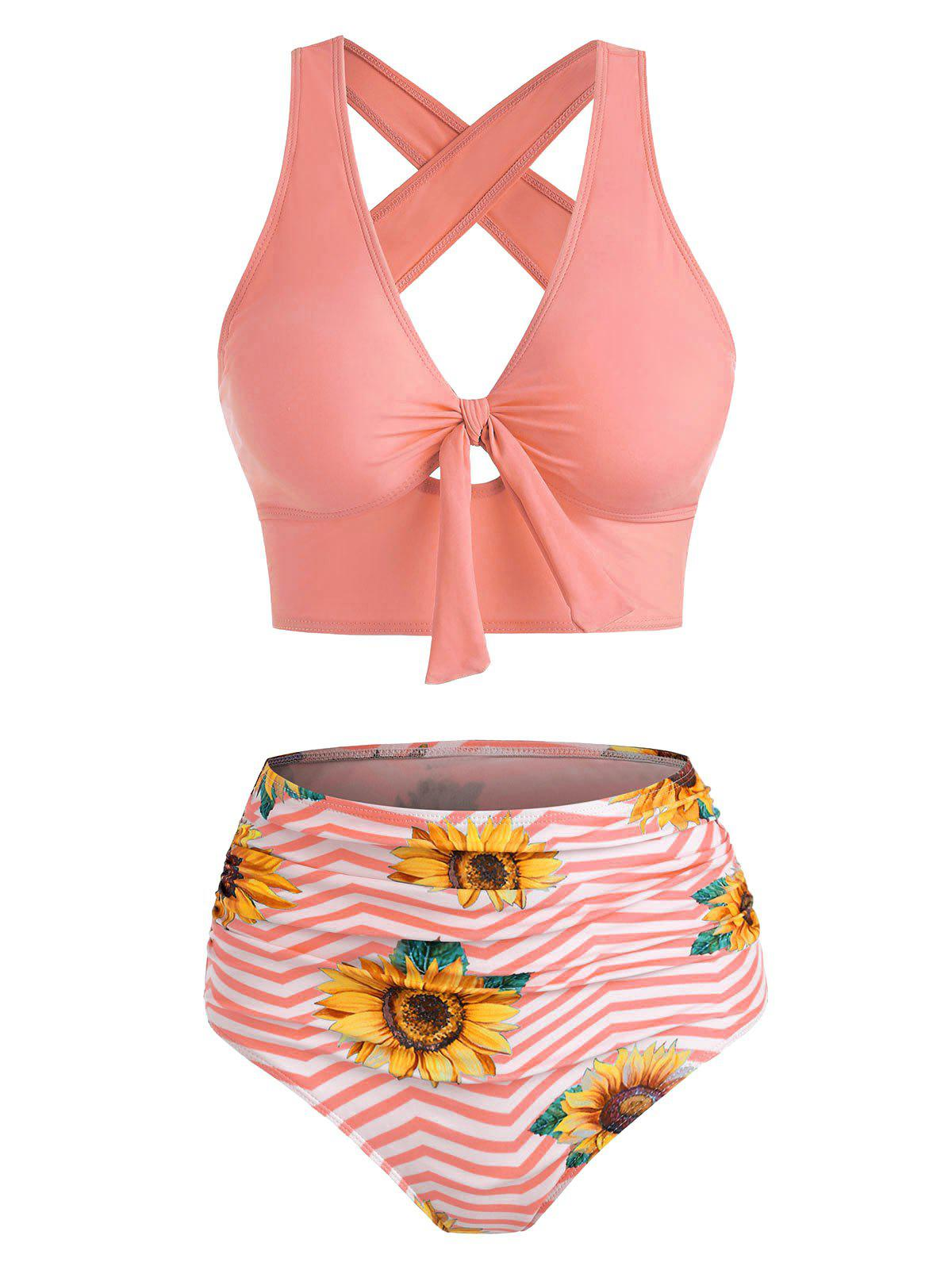 Outfit Sunflower Zig Zag Tied Criss Cross Tankini Swimwear
