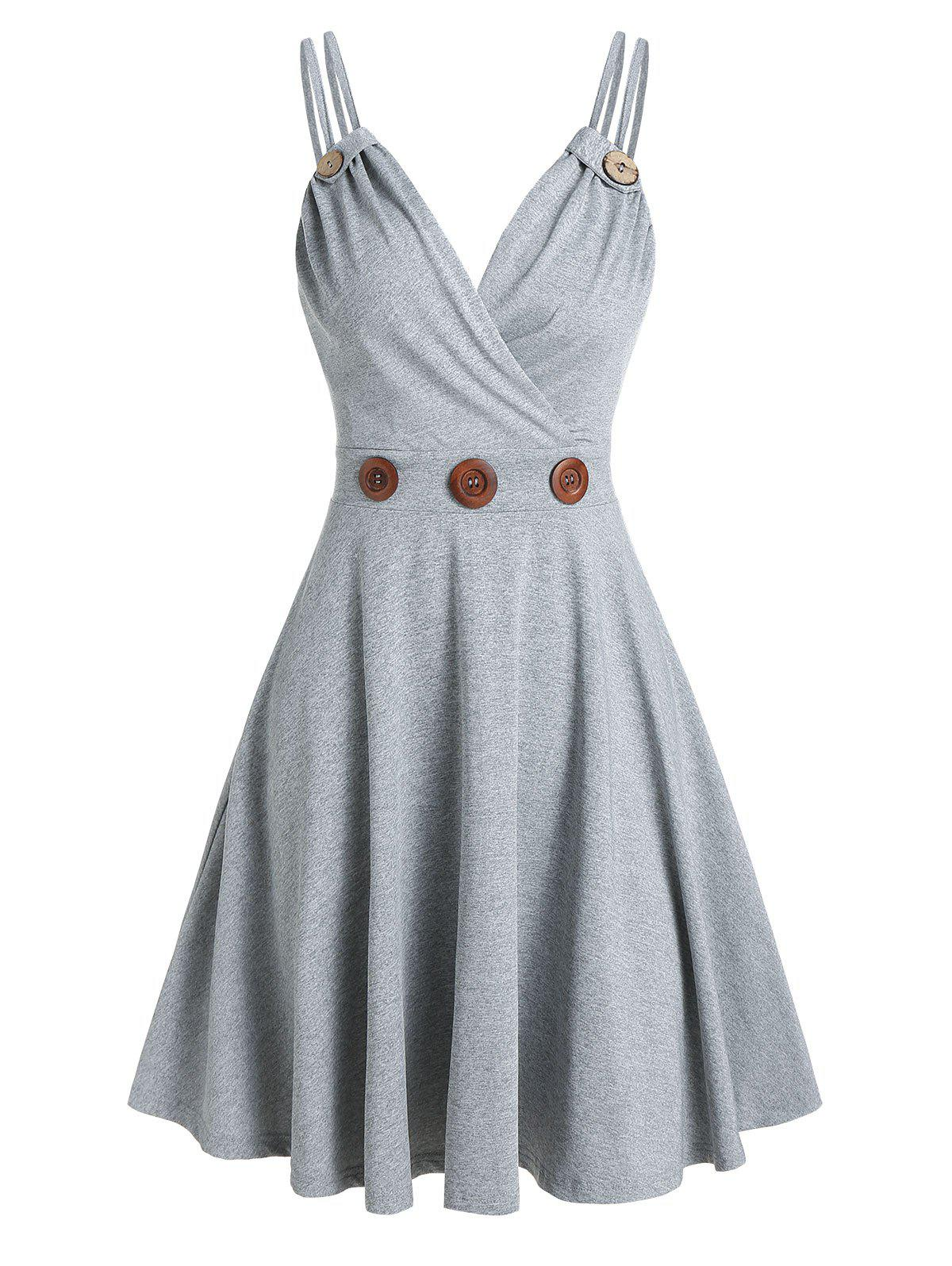 Shops Mock Button Strappy Flare Dress
