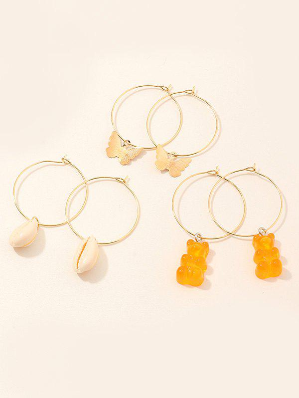 Bouclesd'Oreilles Papillon Coquille 3 Paires Or