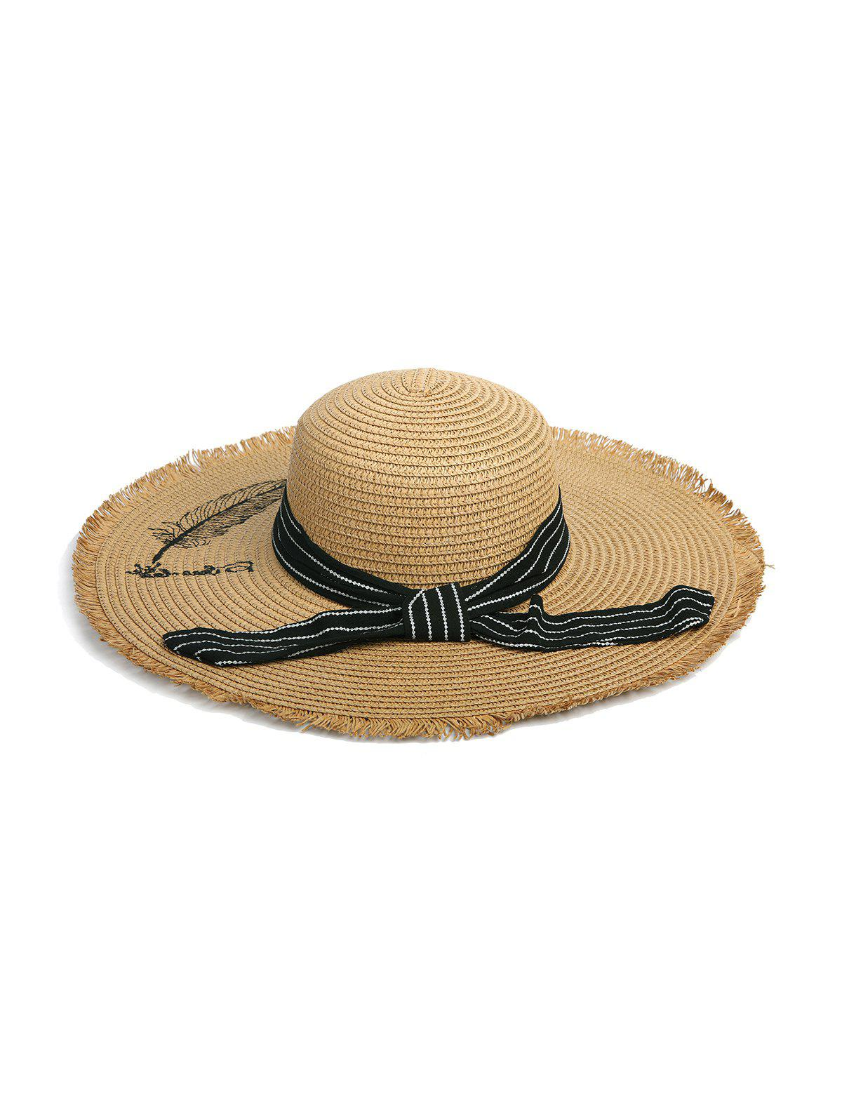 Outfits Stripe Ribbon Feather Pattern Raw Edge Straw Hat