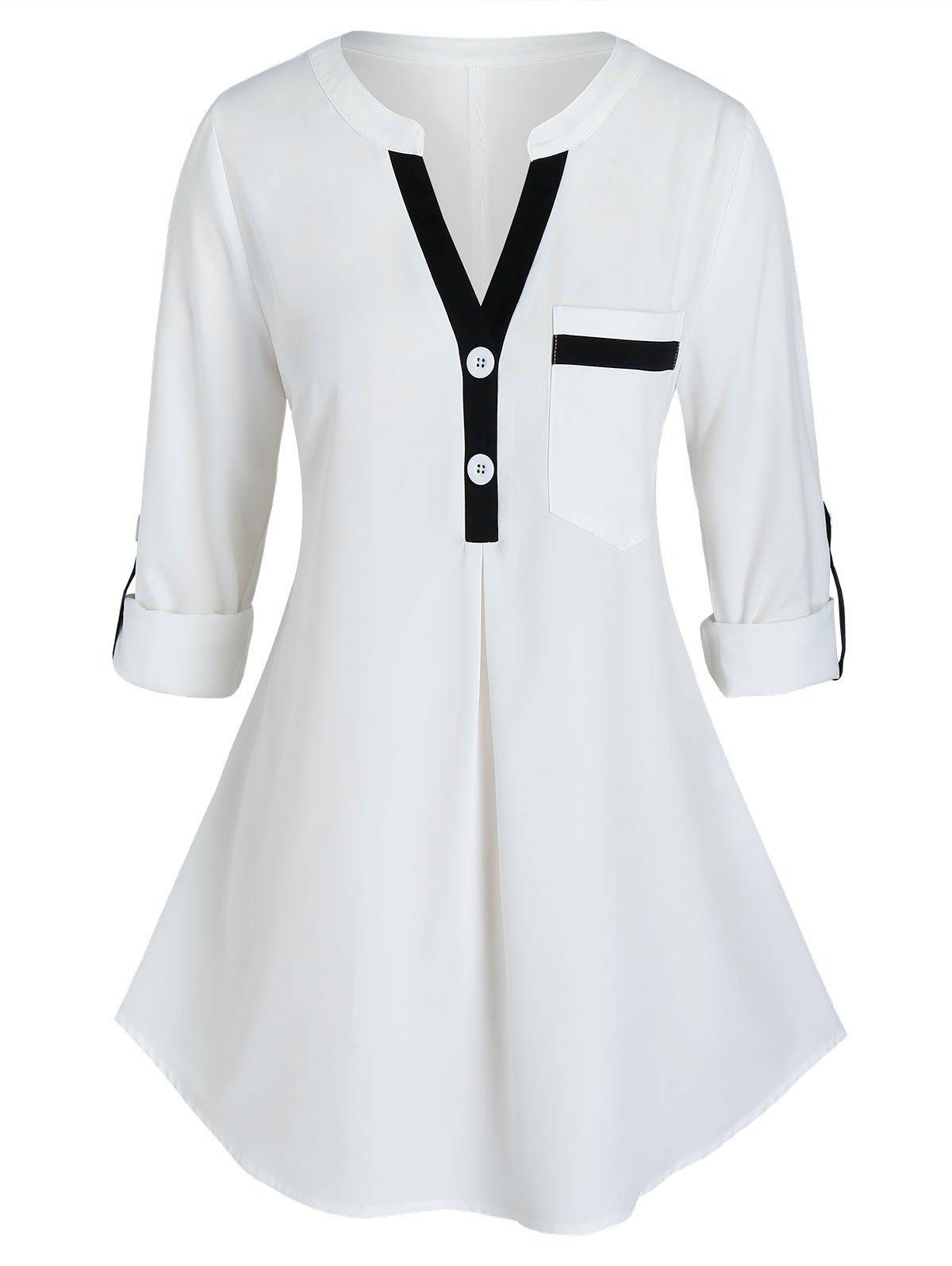 New Plus Size Contrast Trim Roll Up Sleeve Blouse