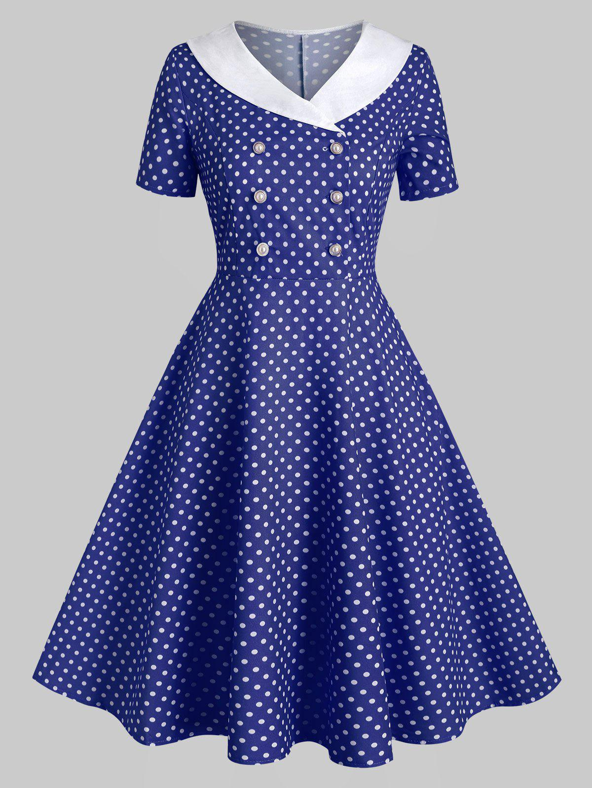 Discount Shawl Collar Polka Dot Double Breasted 1950s Dress
